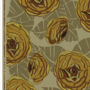 Large-scale yellow flowers with shadow leaf effect. Printed in yellow ocher, terra cotta and tan on taupe background, ungrounded paper.