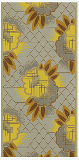 Large-scale cubist inspired flowers with minimal foliage on grid background. Yellow, orange, terra cotta, gray and metallic gold on gray background.