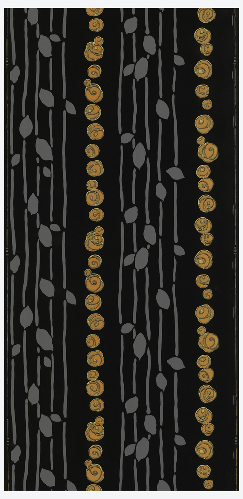 Floral stripe with column of stylized orange flowers alternating with gray bands of foliage stripes hanging in strung bead fashion. Printed on black ground.