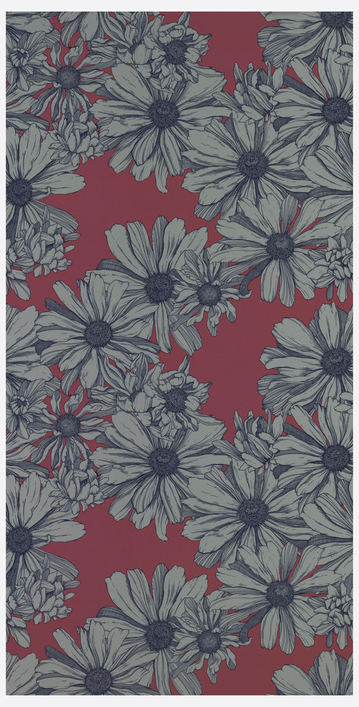 Floral pattern with hand-illustrated cosmos flowers. Design shows a variety of different sized flowers drawn from different angles.
