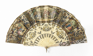 Fan leaf with gilded and hand-colored lithographs showing genre scenes in the style of François Boucher within an elaborate setting of foliage and gothic architecture. Bone sticks and mother-of-pearl guards are carved and gilded.