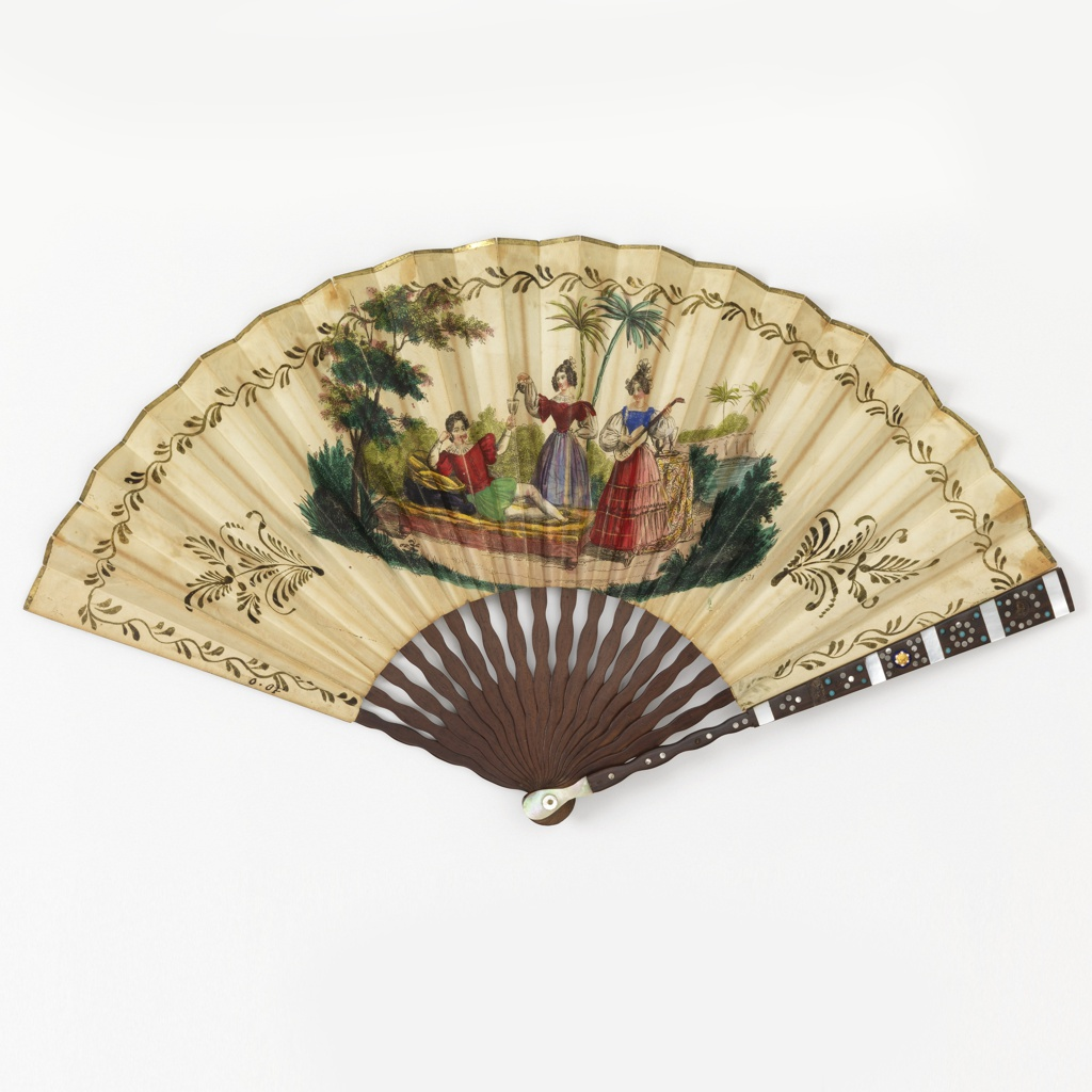 Pleated folding fan with hand-colored etching and stipple engraved paper leaf with wood sticks and guards inlaid with steel discs, mother-of-pearl, steel discs, and stone ornaments. Leaf obverse shows a king and queen in Tudor dress seated on side-by-side thrones in front of a Gothic-style balustrade, with a courtier looking on. Reverse shows a reclining gentleman attended by two women, one pouring him wine and the other playing guitar, beside a river with palm trees.