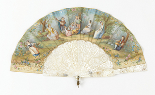Fan with lithograph showing a pastoral scene with musicians surrounded by gilded Rococo-style scrolls, mounted on pierced mother-of-pearl sticks; verso: flowers on a white ground.