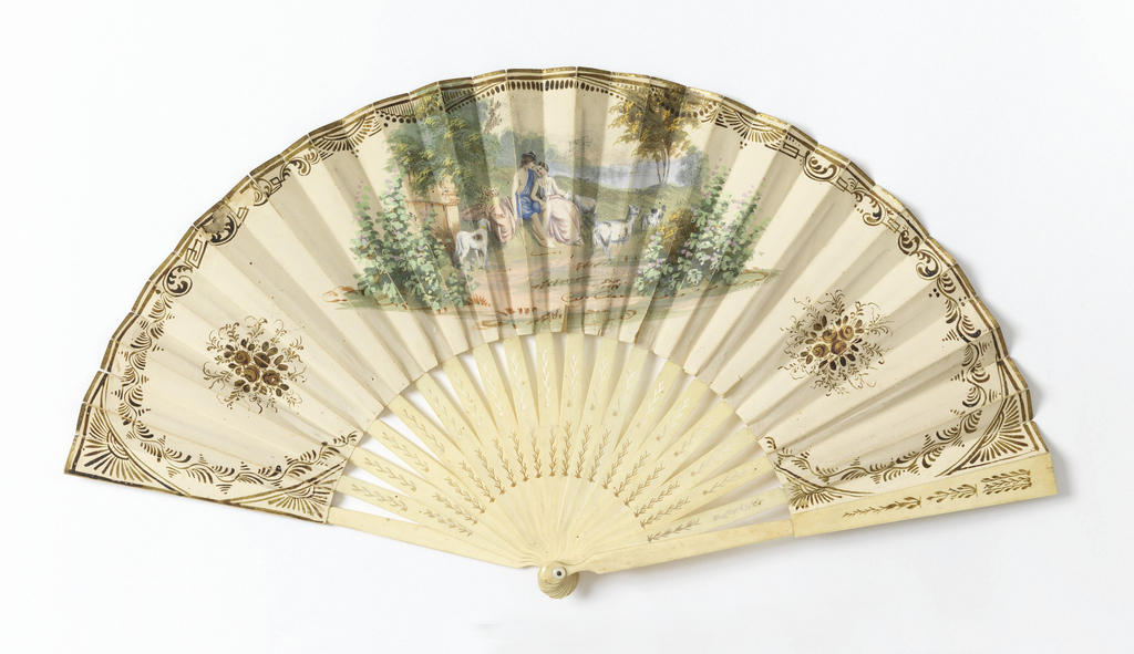 Fan with paper leaf with hand-colored and gilded lithograph print depicting lovers (or shepherd and shepherdess) in a pastoral landscape. Floral decorations frame the scenes to left and right, gilded bandwork at the edges; verso: a classical landscape in gouache. Pierced ivory (or bone) sticks and guards with seaweed design.