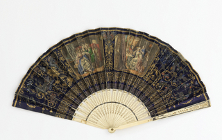 Pleated fan.  Paper leaf with chromolithograph. Obverse: a lady with her pet birds, a lady visiting a fortune teller, gold arabesques on a blue field, putti, devils. Reverse: three chinoiseries in gilt and black.  Pierced ivory sticks.