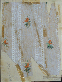 Small orange flower sprigs between vertical lace stripes, on newspaper support. Pasted and/or scotch-taped to cardboard mount.