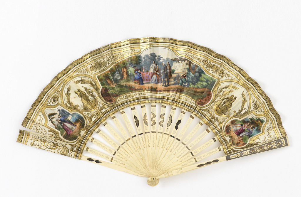 Pleated fan. Gilded paper leaf with chromolithograph. Obverse: a garden scene, couples strolling. Reverse: a courtship scene with putti and baskets of flowers. Pierced and gilded ivory sticks.