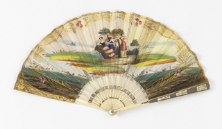 Double paper leaf with gilded hand-colored etching.Obverse: scene of three women with a lyre. Possibly an operatic scene. Reverse: plain paper with small gold ornamentation. Carved bone sticks with metallic foil decoration. Mother-of-pearl at rivet.
