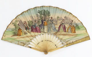Pleated fan. Gilded paper leaf with hand-colored lithograph. Obverse: 18th century style figures in a formal garden. Reverse: landscape with dunes, caves and a mountain. Horn sticks engraved with bee and leaf motifs, and applied gold foil.