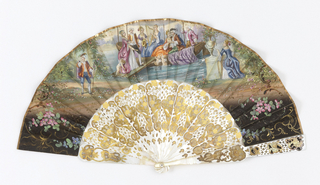 Pleated fan. Paper leaf with hand-colored lithograph. Obverse: romantic scene of pleasure boat and figured in 17th century costume. Reverse: romantic pastoral scene showing shepherds and shepherdesses in country landscape. Guards and sticks of mother-of-pearl, pierced with quatrefoil design, engraved and applied with gold foil.