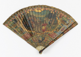 Brisé fan. Ivory sticks painted in oil and finished with Vernis Martin. Obverse: divided into leaf and gorge area, the former decorated with a central cartouche containing an outdoor scene with figures in 18th century dress. The gorge contains a miniature of a lady srrouned by medallions and motifs of Chinese inspiration. Reverse: a harvest scene. Tortoise shell guards. Silk ribbon. Rivet is set with a faceted ruby colored stone.