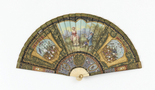 Brisé fan. Painted ivory sticks. Obverse: central cartouche showing a male and female figure in 18th century dress, and two side cartouches containing the implements of music and agriculture. Reverse: an oblong light blue panel containing sprays of flowers. Brown and green ribbon.