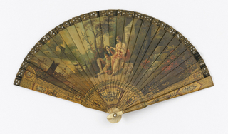"Brisé fan. Painted ivory sticks. Obverse: figures of man and woman in landscape. Gorge and borders in ""Vernis Martin"" style, showing floral motifs within miniature cartouches. Reverse: landscape without figures. Rivet is set with a faceted stone. Fan case has removable lid."
