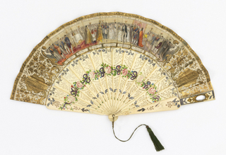 Pleated fan with double leaf. Printed, hand-colored and gilded paper leaf. Obverse: Queen Isabella II and her sister Luisa Fernanda in a double wedding ceremony; dignitaries in attendance are identified in cartouches below. Reverse: cherubs holding up an oval with cipher. Drilled and painted bone sticks with metal foil decorations showing flowers and ribbons. Faceted stone at rivet. Gilt metal bail. Tassel. Mirrors on guards.