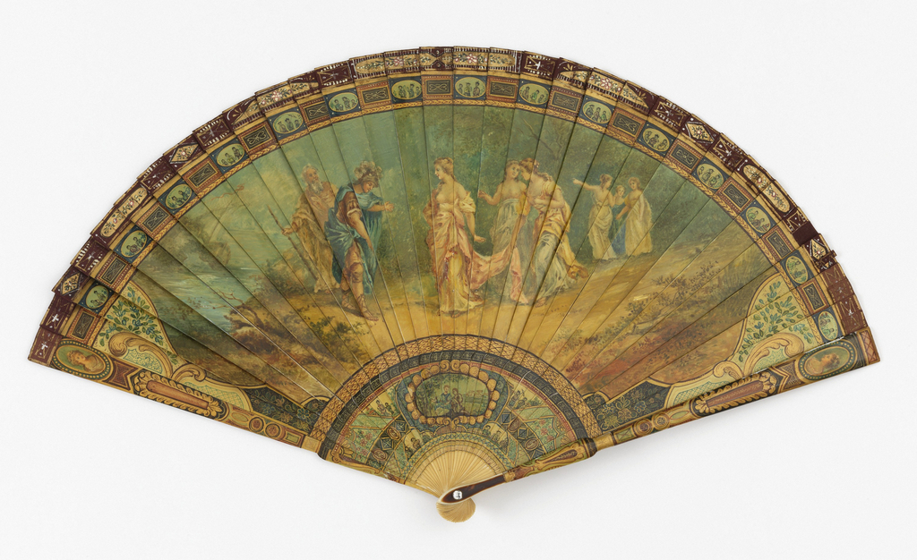 Brisé fan. Ivory sticks painted to resemble vernis martin. Obverse: a classical scene from Homer's Odyssey featuring Mentor and Telemachus, Odysseus's son. Reverse: a pastoral scene. Rivet is set with a clear faceted stone. Tortoise shell on guards.