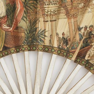 "Pleated fan. Printed paper leaf with chromolithograph. Obverse: restaurant scene advertising Peter Champagne ""Passage des Princes"". Reverse: Father Christmas with bottle of champagne. Marked ""Chambrelent Evantailliste-Paris"". Plain wood sticks painted white."