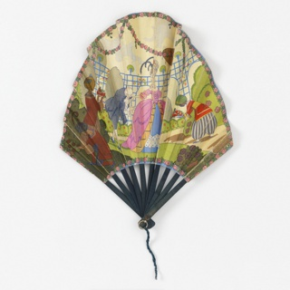 "Pleated fan with arched shape double leaf. Obverse: polychrome printed paper with man and woman in eighteenth century costume in a garden attended by three servants. Reverse: printed paper with vase of roses surrounded by swags of roses and printed with advertising ""Plaza, Paris."". Wood, sticks painted blue. Metal bail at rivet."