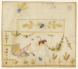 Rectangular corner; three buttonholes. Two fantastical peacocks prey for insects. Plants, festoons. A bunch of flowers decorates the oblong pocket, a fantastical tree stands beside its left side. On verso: five yellow birds with leaves rising from two of them.