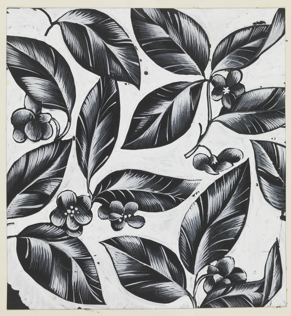 On white background, a pattern of leaves and small blossoms in black, accented in white.