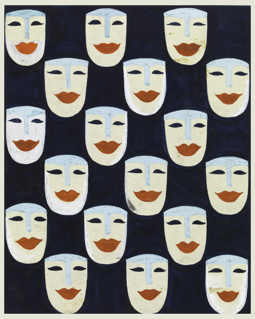 Stylized mask pattern consisting of eighteen white masks with blue foreheads and noses, black eyes and large red lips.