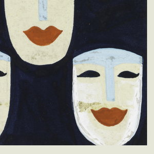 Stylized mask pattern consisting of eighteen white masks with blue foreheads and noses, black eyes, and large red lips.