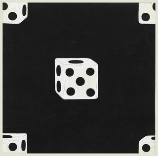Against a black background, white dice at center and smaller sections of the dice at four corners.