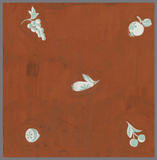 Against a cherry-red background, five small vegetal designs in aqua and white.