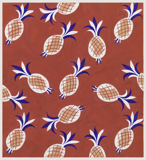 On red background, a pattern of pineapple motifs in white and coral with red cross-hatch marks and blue and red tops.