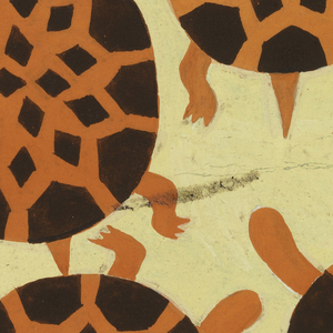 Rotating turtle designs in brown and orange against an ochre background.