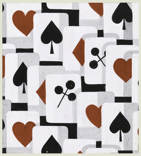Playing card pattern in white, grey, red and black, showing hearts, spades, clubs and diamonds.