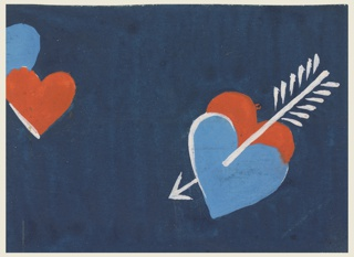 Heart pattern in red and blue on a navy blue background.