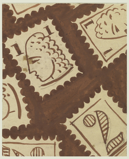 Design on stamps of sailboats in cream and brown, on a brown background.