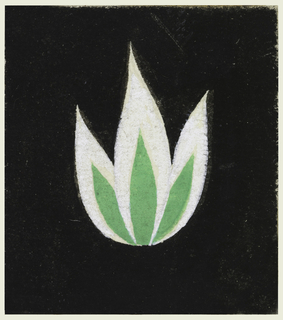 Tulip in green on black. Attached to mat with 1992-51-71.