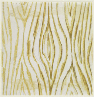 On white background, tree bark design in ochre and brown; top left corner is missing.