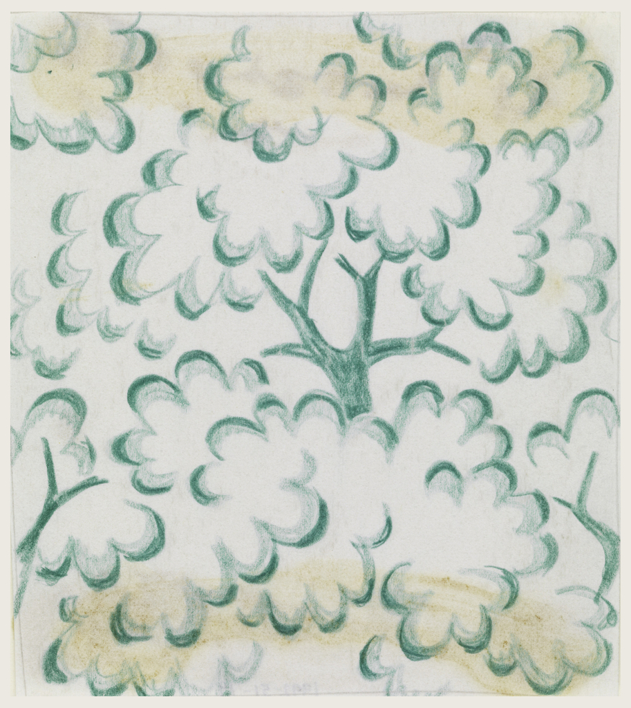 On white background, partial view of tree trunks with cloud-like leaves in blue-green.