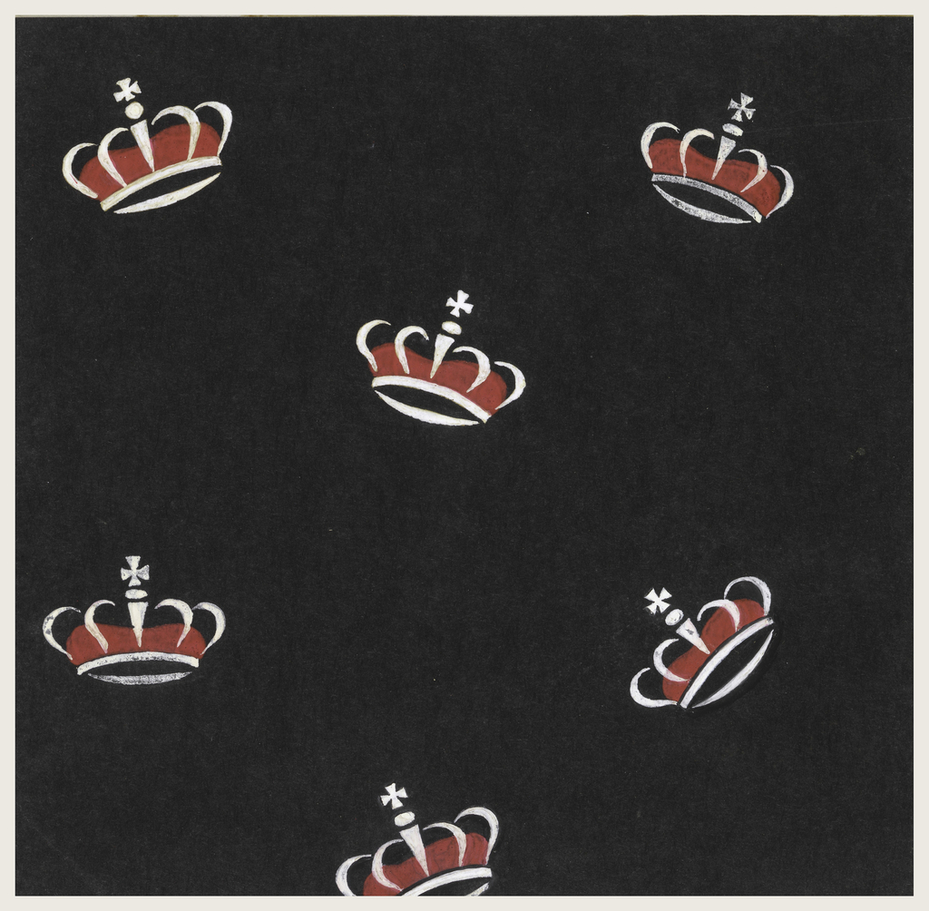 On black background, a pattern of red and white crowns with center Maltese cross.