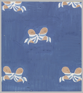 On blue background: a pattern of bows in pink, light blue, dark blue and white.