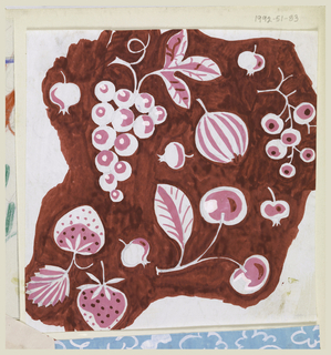 On red background, designs of cherries, strawberries, grapes and figs in white and pink.