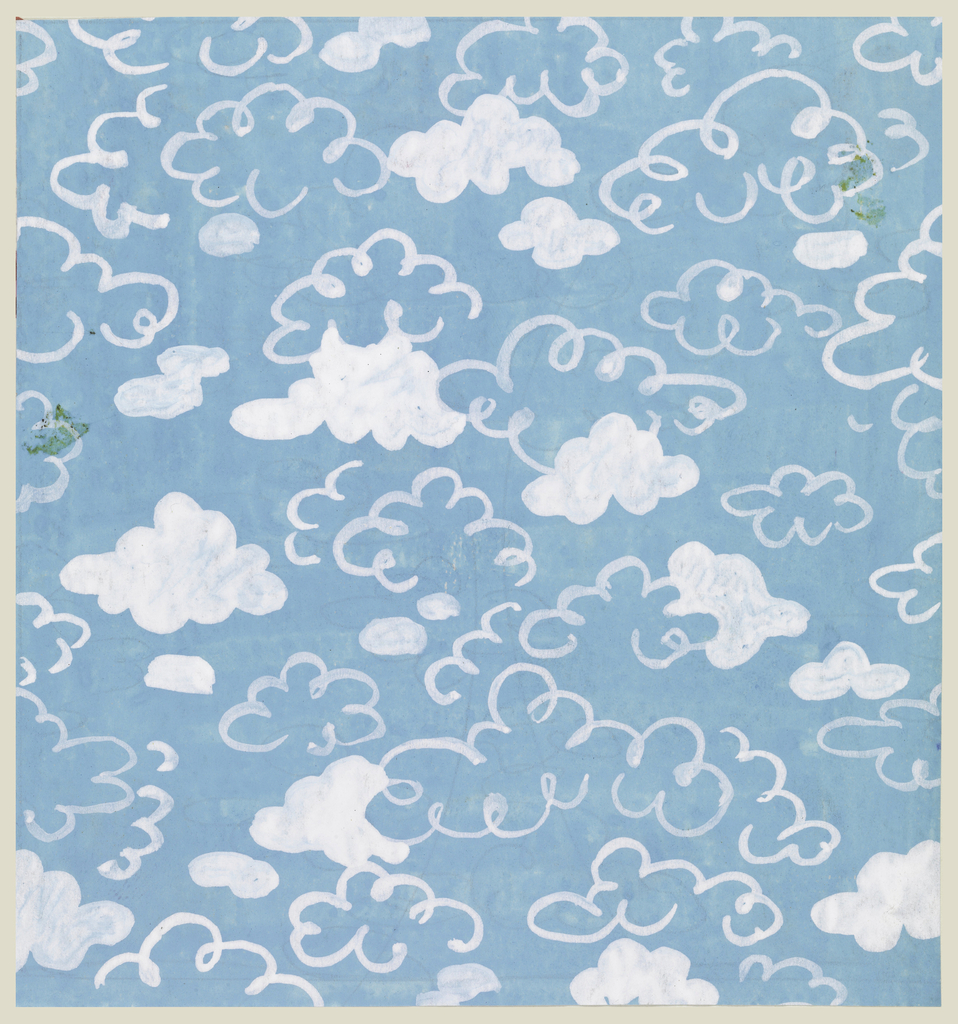 Cloud design outlined in white, some painted in white, on sky-blue background.