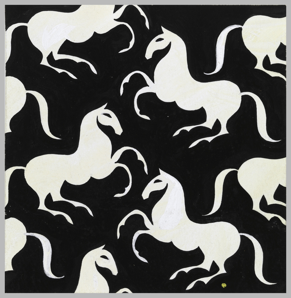 Galloping horse pattern in white against a  black background.