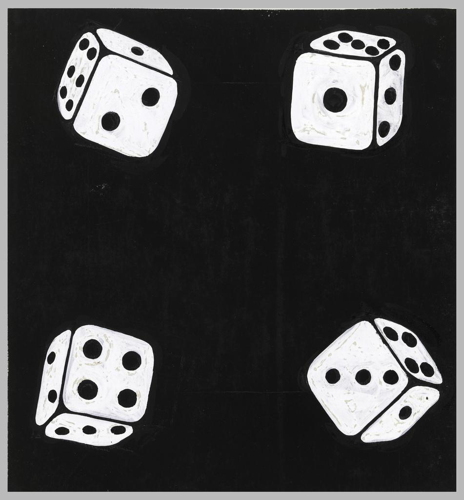 A white die in each corner against a black background.