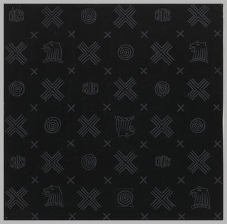 Lined crosses, chess piece heads, concentric circles, x's and the word 'cross' are painted in grey on black background.   Parzinger created this pattern as the logo for Mark Cross; the luxury goods shop was located on Fifth Avenue, New York City, 1934-35.