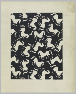 Galloping horse pattern, in sand color, against a black background framed by sand border.