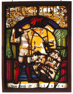 "Rectangular stained glass panel depicting in grisaille, a standing man dressed in armor and red boots, holding a spear in one hand and the other hand on hilt of sword at his side, under a blue and red arch with green pilasters and decorative columns. Next to him, a shield, arrows, and plumes. Flanking him are two bright beet-colored pedestals topped with green finials; behind him, blue stairs. Hanging above is an escutcheon: ""1564"". Behind the shield, a man stands holding one black arrow pointing up and a white arrow pointing down. Above this, a hunting scene unfolds depicting a man on horseback and two other men on foot, following a stag, with several dogs."