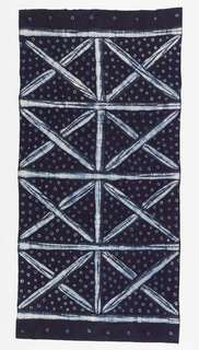 Woman's wrapper with a large-scale design of two columns of squares, each criss-crossed by diagonal lines. Field of small white circles. In white on a deep blue ground.