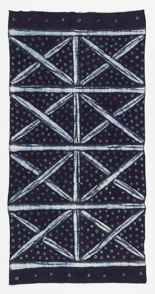 Wrapper with a grid of large Xs on a field of small circles. Design created through tied- and stitched-resist patterning methods, in white on a deep blue ground.