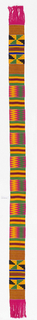 Narrow woven strip with bands of striped, stepped and zig-zag patterns, in black, blue, green, yellow/orange, and dark red.  Patterns are formed by alternating warp-faced plain weave with weft-faced plain weave on grouped warps, two-color complementary wefts, and supplementary weft patterning (brocading).