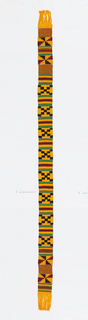 Narrow woven strip with bands of striped and stepped patterns, in black, blue, green, yellow/orange, and dark red.  Patterns are formed by alternating warp-faced plain weave with weft-faced plain weave on grouped warps, two-color complementary wefts, and supplementary weft patterning (brocading).