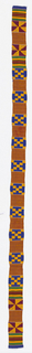 Narrow woven strip with bands of pattern in black, blue, green, yellow/orange, and dark red.  Patterns are formed by alternating warp-faced plain weave with weft-faced plain weave on grouped warps, two-color complementary wefts, and supplementary weft patterning (brocading).