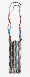 Necklace of red, white, blue and black beads. A vertical rectangular striped panel is suspended from a double strand around the neck. Cone-shaped metal fasteners.